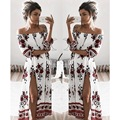 Spring Women's Dress 2017 Half Sleeve Slash Neck Sexy Boho Dress Floral Print Off The Shoulder Loose Split Dresses Women Robe
