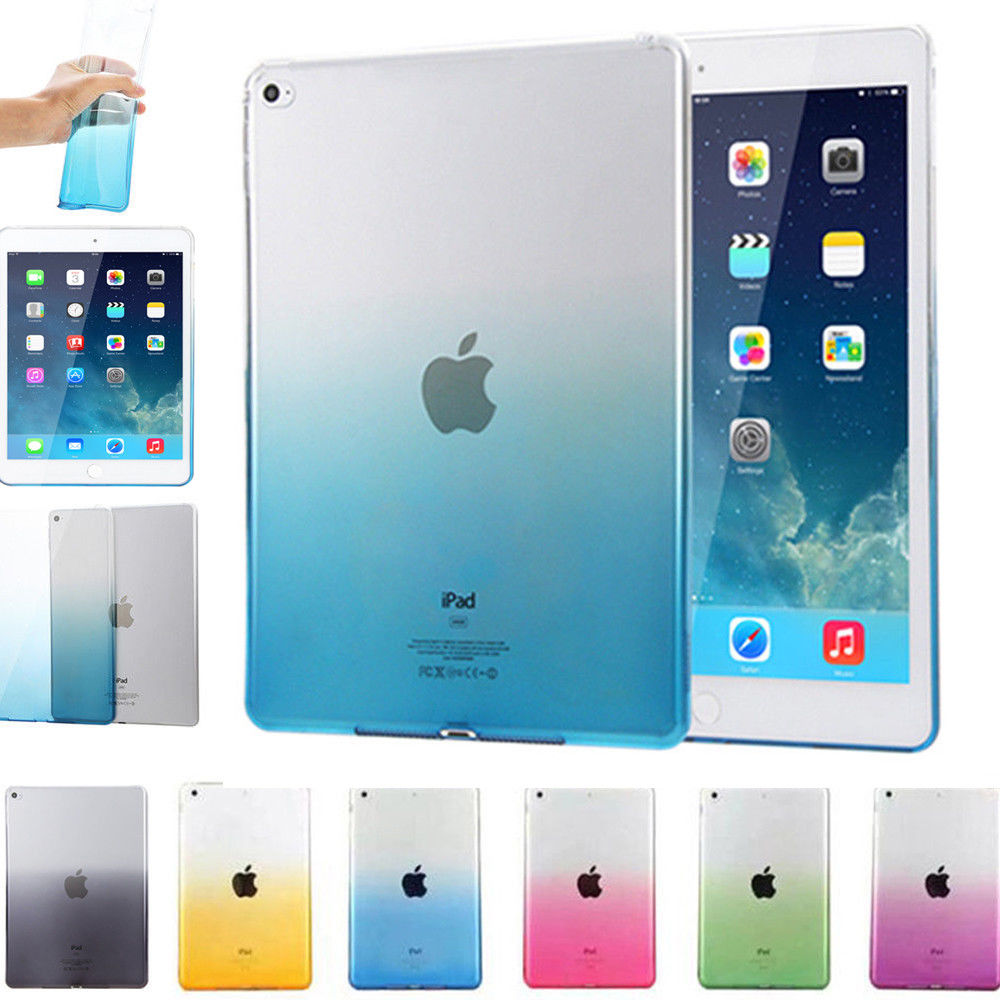 For iPad 9.7 2017 Case Cover Silicone Soft A1822 A1823 Gradient Clear Case Slim Shell Cover For iPad 2017 2018 9.7 inch nice flexible tpu silicone case for apple new 2017 ipad 9 7 cover protect smart cover partner clear transperent bottom back case