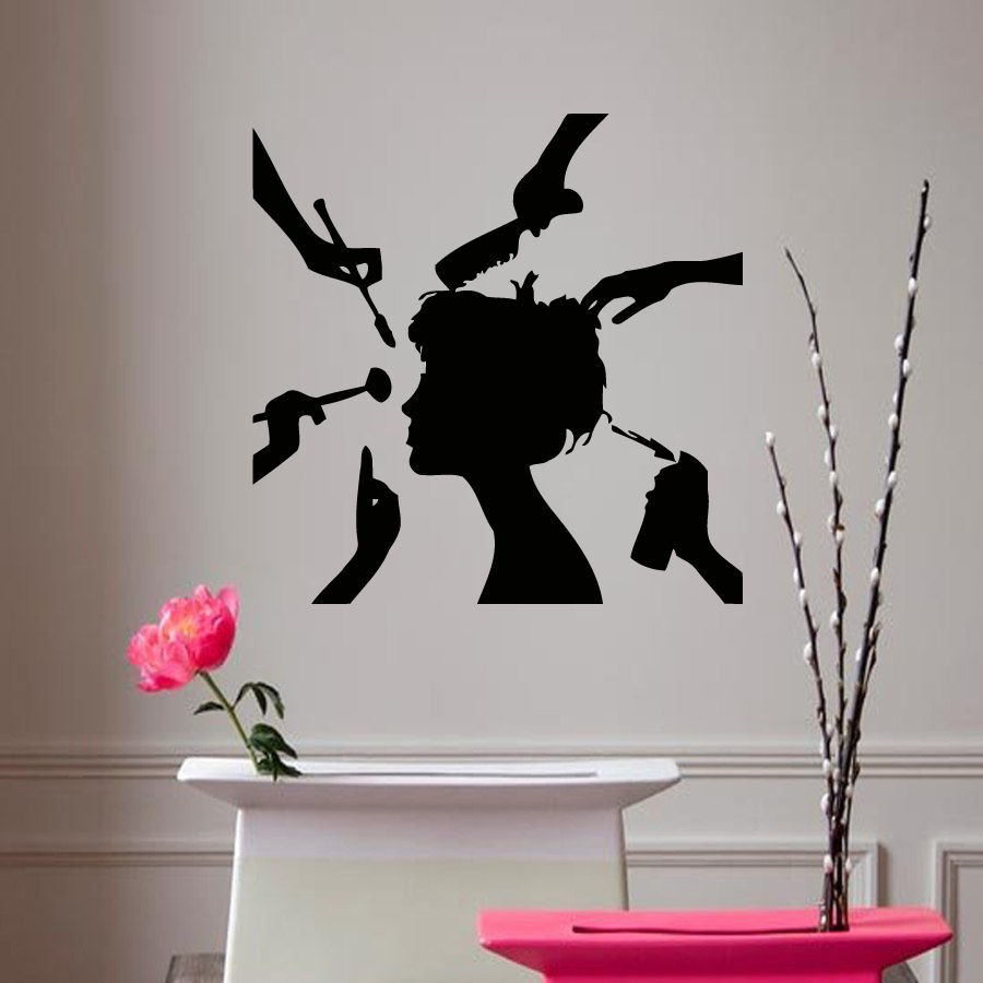 buy vinyl sticker decal girl make up hair style beauty salon decor hair shop. Black Bedroom Furniture Sets. Home Design Ideas