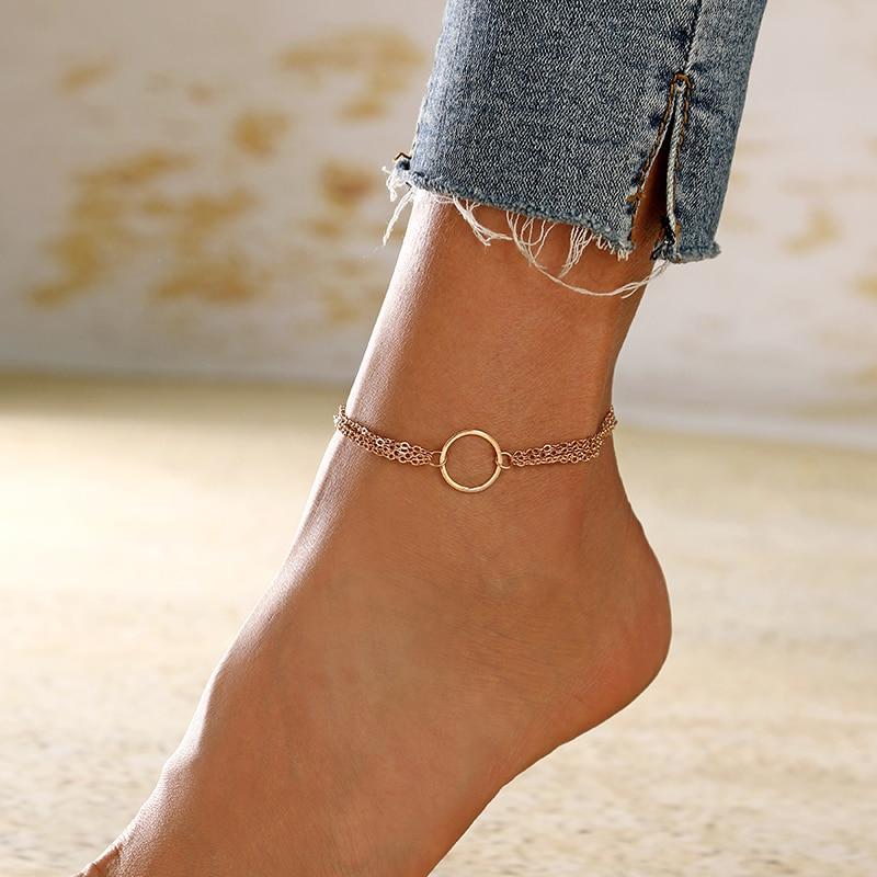 XIYANIKE Wholesale Bohemian Charm Round Multilayer Anklets For Women Geometric Ankle Bracelet on Leg Chain Beach Boho Jewelry