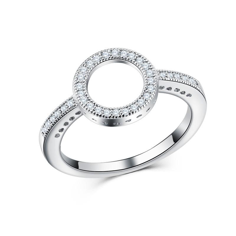 Модное Сверкающее циркониевое серебряное кольцо для женщин, цветочное сердце, корона, кольца на палец, фирменное кольцо, ювелирное изделие, Прямая поставка - Цвет основного камня: 7