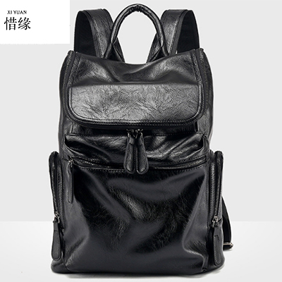 Fashion Genuine Leather Backpack For Men School Bags Men Luxury Famous Brand Shoulder Bag Men Travel Bag fashion 2017 pu leather backpack for men famous brand travel backpack bag men students shoulder bag daypack bookbags bp00075
