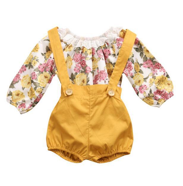 Fashion Baby Girls Clothing Sets Long sleeve Floral Top+ Pants 2Pcs Newborn Infant Baby Girls Clothes Set 0-24month