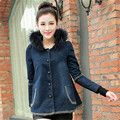 S-2XL 2016 New Winter Women Long Denim Jackets Female Cotton-padded Fur Collar Hooded Coats Single Breasted Overcoat ZS245