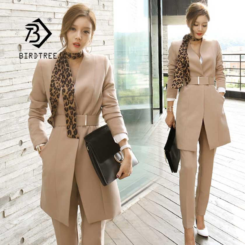 2019 Autumn Women's Slim Pant Suit Belt Long Single Button Blazer+ Leopard Scarf Femme Office Lady Two Piece Set Sales S96407Z