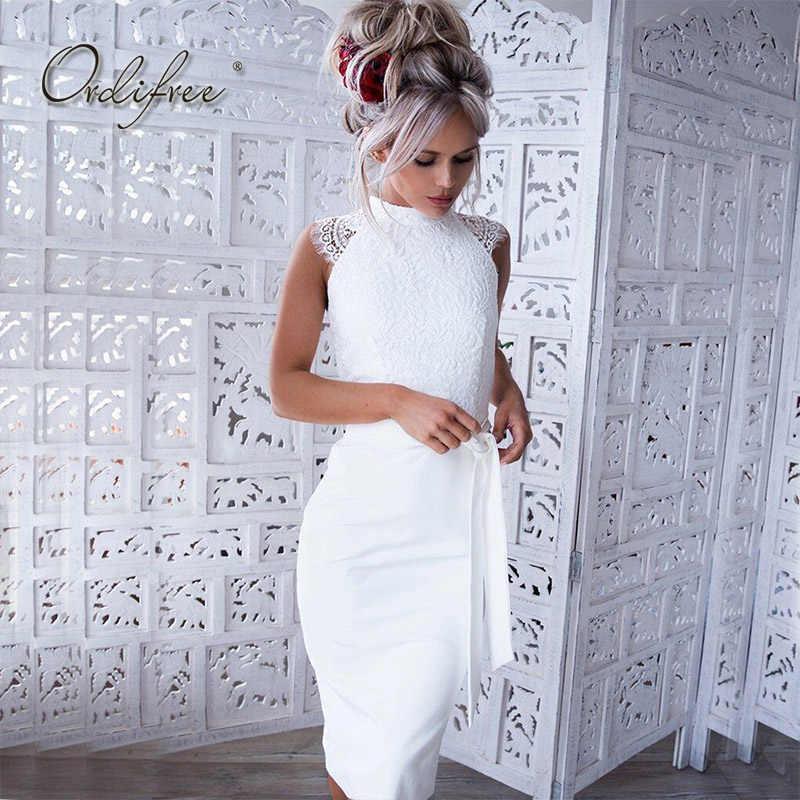 e228d4f6368 Ordifree 2019 Летнее белое сексуальное облегающее платье без рукавов  Кружевное Вечерние Платье До Колена женское миди