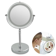 10X Magnifying Makeup Mirror With LED Light 360 Degree Rotating Round Shape Desktop Vanity Mirror Double Sided Backlit Mirrors
