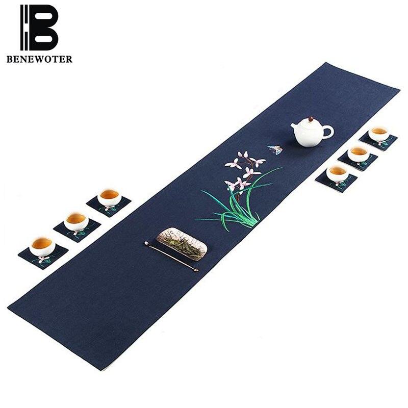 Style chinois broderie orchidée lin coton chemin de Table bureau thé cérémonie Teaware tapis dîner bureau décoration tampons cadeaux