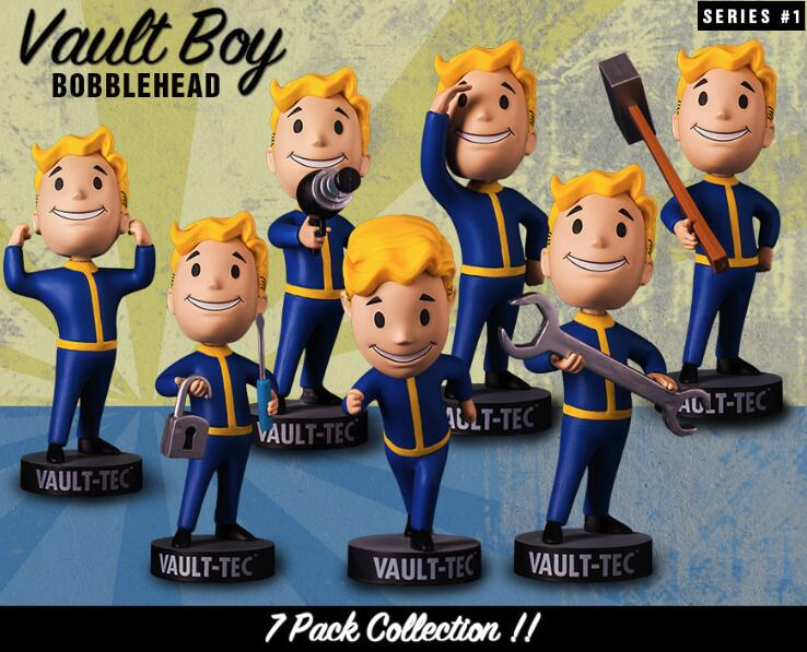 Gaming Heads Fallout 4 Bobblehead Cute Vault Boy Series 1 Action Figure Collectible Model Toys