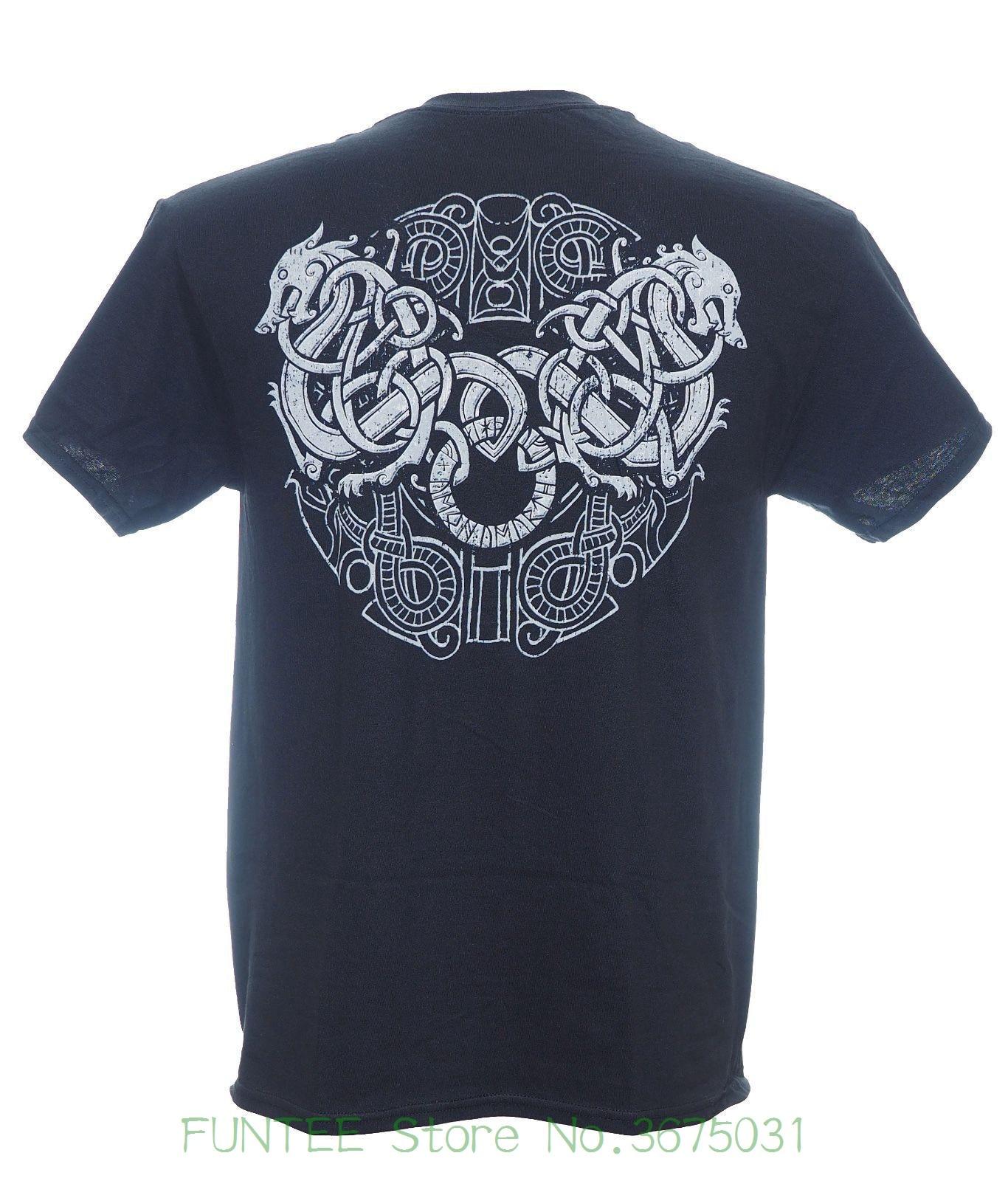 Short Sleeve Mens Formal Shirts Amon Amarth - Grey Skull And Shield T-shirt - Size Medium M - Viking Death Metal