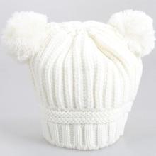 4e10aa9c5 الكورية نمط الطفل محبوك قبعة جميلة المزدوج الكرة تصميم قبعة الاطفال الدافئة  الصوف كاب 998(