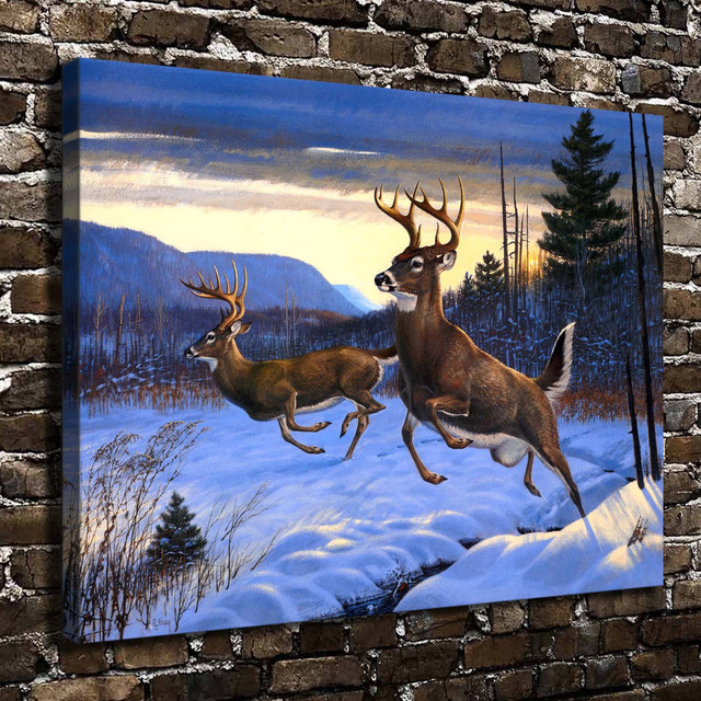 A0690 snow forest natural scenery animal deer hd canvas for Deer scenery