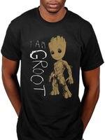 Oficial Marvel Guardianes de La Galaxia Soy Groot Camiseta Starlord Cómic Loose Negro Hombres Camisetas Homme Camisetas Top Tee