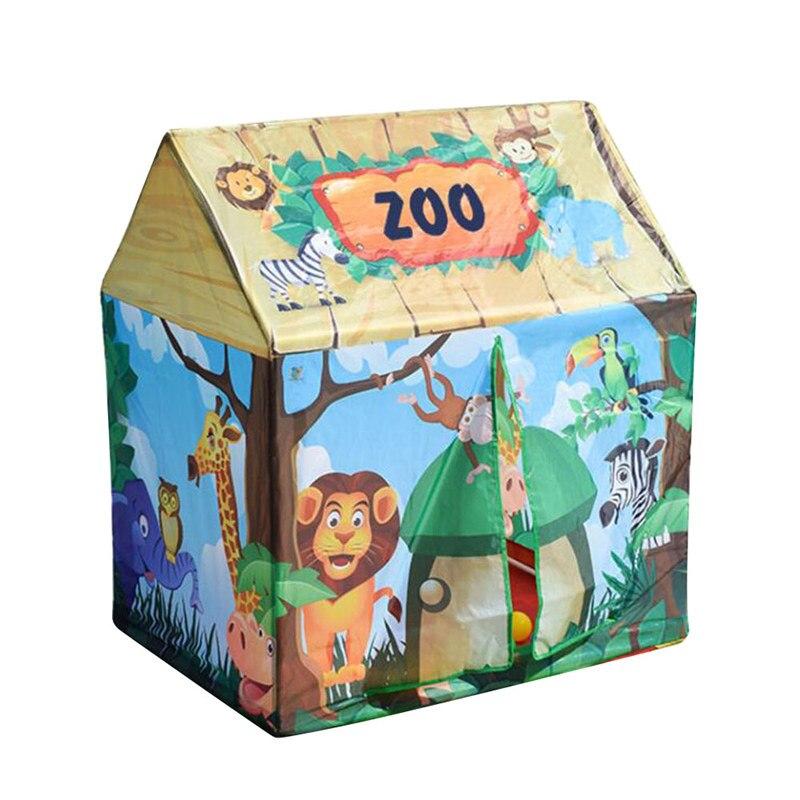 все цены на Children's Play House Tent Toy Cartoon Dessert Shop Circus Zoo Fire House Kid's Play House Detachable Assembly 92*68*104cm онлайн