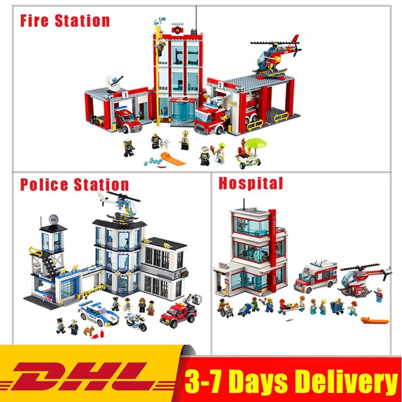 Lepin City 02020 Police Station+ 02052 Fire Station +02113 Hospital Building Blocks Bricks Model Toys for Children Creative Gift fire granny 2018 11 20t20 00