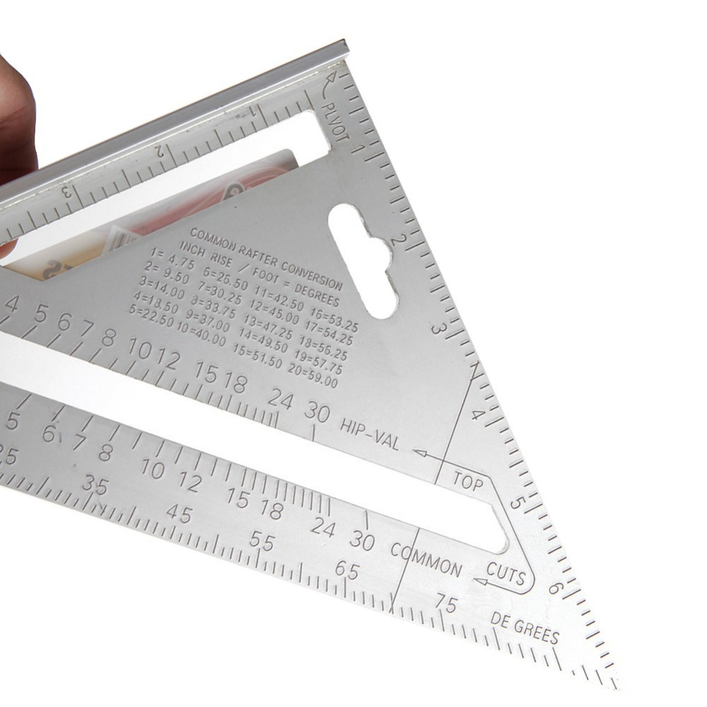 Attractive 7 Inch Silver Aluminum Alloy Roofing Rafter Square Triangle Ruler Measure  Protractor Measuring Tool(China