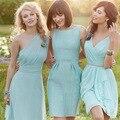 Cheapest Mix Design Custom Made A-line Light Blue Chiffon Bridesmaid Dress Custom Made 2016 Wholesale