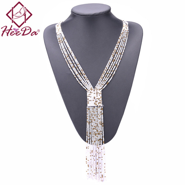 Fashion Graceful Joker Women Necklace Boho Long Tassel Kolye Red Seedbead Hand-woven Neck Decoration 2018 New Mothers Day Gift