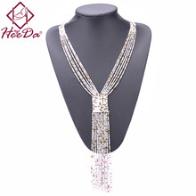 Fashion Graceful Joker Women Necklace Boho Long Tassel Kolye Seed Beads Hand-woven Neck Decoration 2018 New Valentines Day Gifts