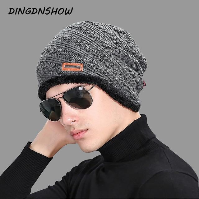 4534cac68 US $6.26 43% OFF|Aliexpress.com : Buy [DINGDNSHOW] 2018 New Arrival Beanies  Hat Adult Cotton Winter Cap Men Skullies Cap Knitted Hat Warm Bonnet Hat ...