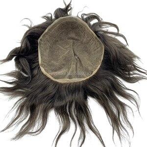 Image 5 - Männer spitze perücke volle schweizer spitze mann perücke menschliches haar gebleichte knoten kostenloser versand