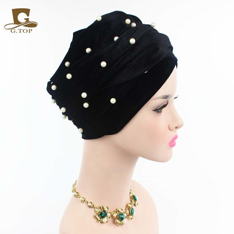 New luxury beaded pearled velvet turban long head scarf headwrap women muslim hijab Bandanas Hair Accessories 22