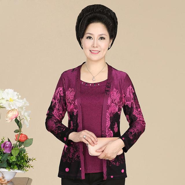 Nova moda de alta qualidade outono das mulheres falso duas peças t-shirt senhora de manga comprida pullover solta mãe plus size clothing