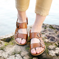 DreamShining Summer Beach Shoes Male Sandals Men Slippers  Casual Cowhide Shoes Leather Breathable Open Toe Sandals