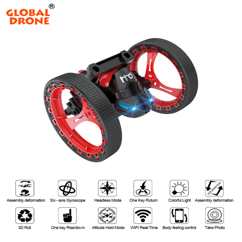 Global Drone H3 2.4GHz RC Bounce Car Three In One Air Ground Amphibious Drone Helicopter Jumping Car Tank Best Toy Gift