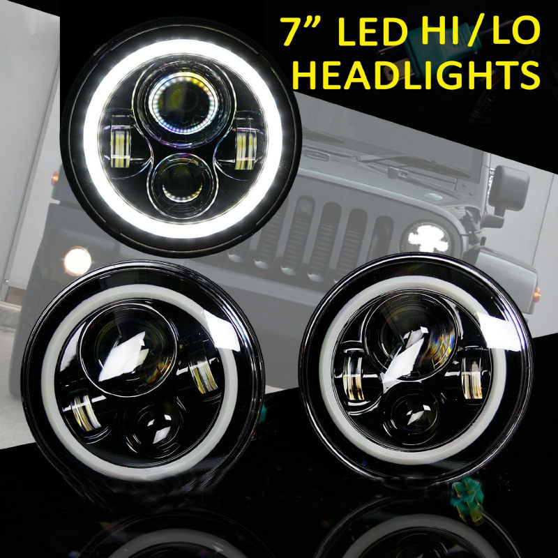 7 inch round LED Headlight For Wrangler Harley Toyota FJ Cruiser LandRover Defender With High/Low Beam Halo Ring Angel eyes 7 round led headlight conversion kit with halo angel eye ring