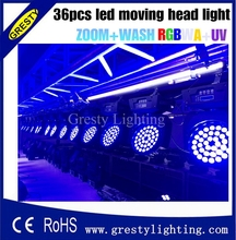 Led Moving Head Wash Light 36x18w Edison High Brightness Leds DMX 13CH RGBW Led Stage Light Show Disco Dj Light
