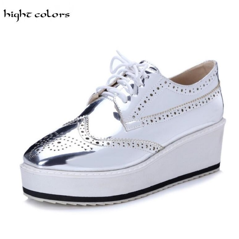 Autumn 2017 Sequined Cloth Women Platform Brogue Vintage Shoes For Women Office Lady Casual Patent Leather Slip On Female Pumps