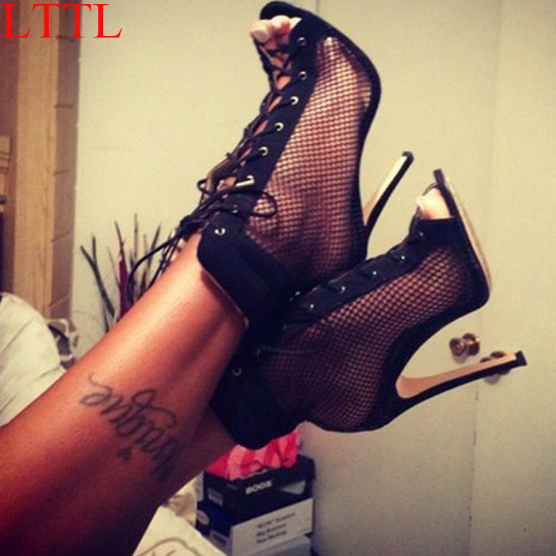 цены  LTTL Sexy Fishnet  Mesh with  Lucency Film Peep toe Ankle Boots Thin High Heels Women Sandals Bottines Summer Boots Shoes Woman