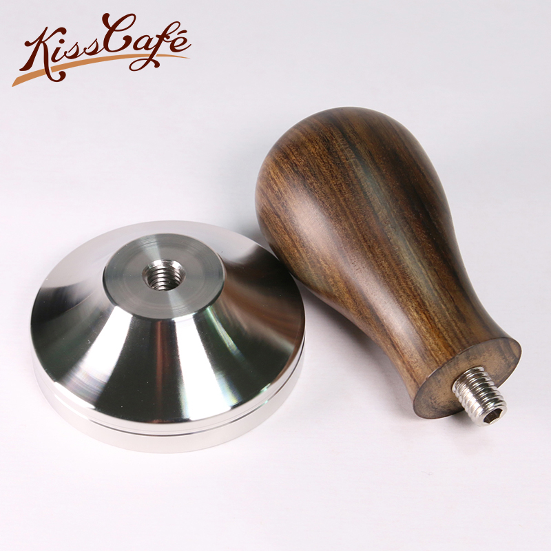 Stainless Steel Base Chacate Preto Wood Handle Coffee Tamper Powder Hammer 41/49/51/53/54/57/57.5/58/58.35mm Coffee Accessories