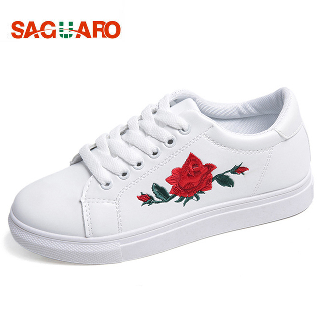 SAGUARO Fashion Embroidery Rose Moccasins Women White Casual Shoes Flat Walking Shoes Espadrilles Students Shoe Tufli Tenis