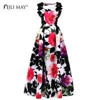 JLI MAY Vintage printed maxi party dress o-neck sleeveless ball gown floral ladies women plus size long evening elegant dresses