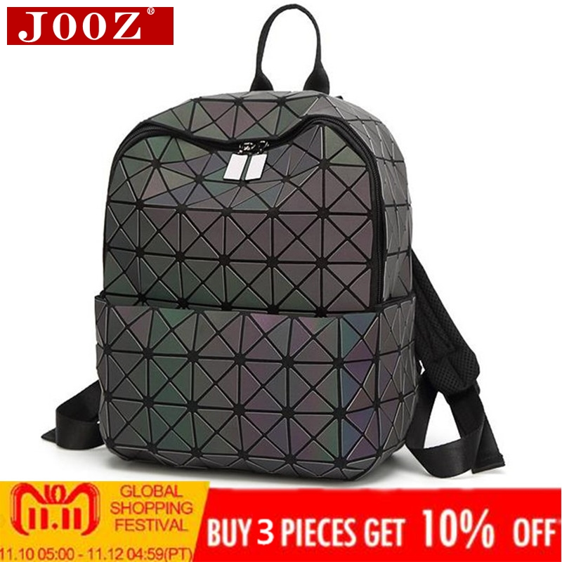 JOOZ Hologram geometric lattice backpack luminous travel men and women backpack pvc laser holographic sac a dos Luminous style aelicy mochila backpack women silver hologram laser backpack school bag leather holographic backpack multicolor sac a dos