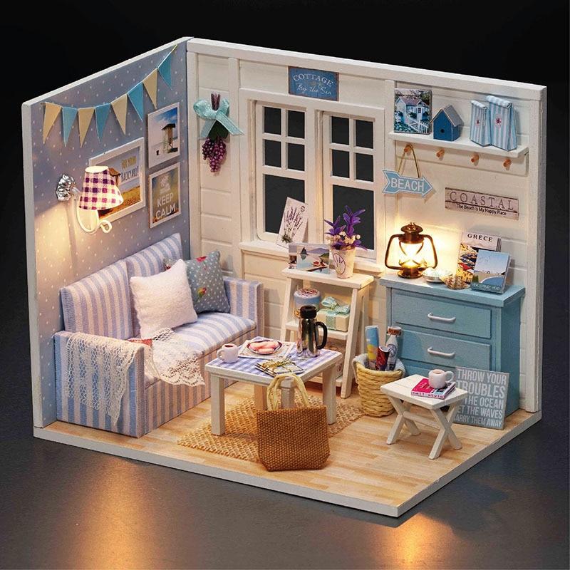 Wooden Dollhouse Furniture Kit Miniature Fresh Sunshine Room DIY Doll House LED Lights Kids Puzzle Toy BirthdayChristmas Gift