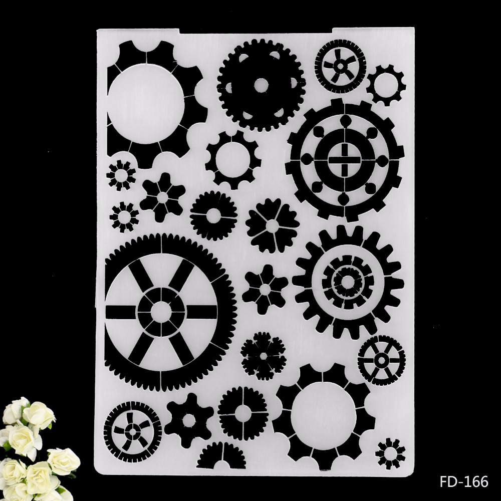 2019 New Arrival Scrapbook Gears Design DIY Paper Scrapbooking Craft/Card Making Decoration Plastic Embossing Folder