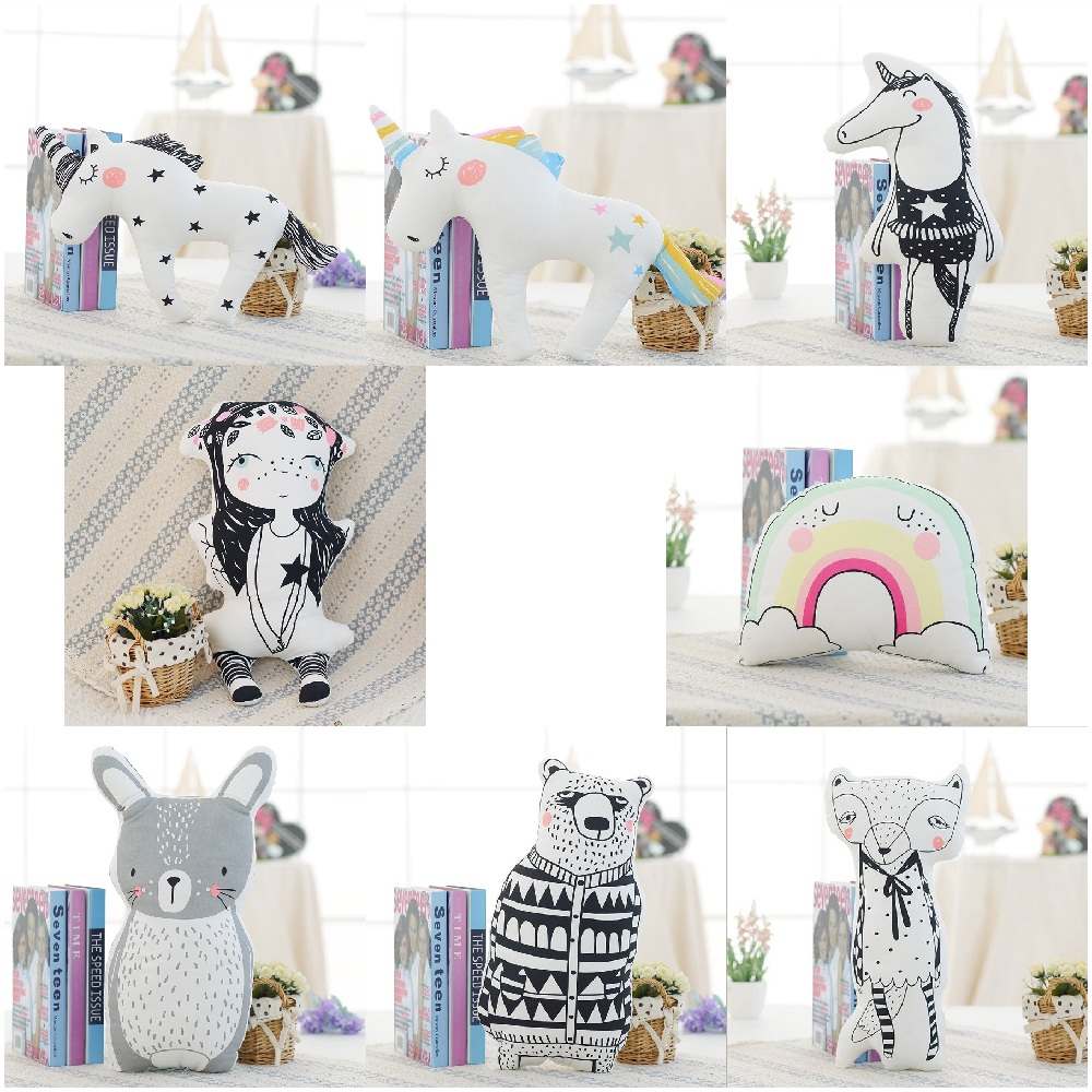 Cartoon Animals Unicorn Bear Rabbit Fox Rainbow Girl Cushion Pillow Kids Bed Room Decor Calm Sleep Dolls Nordic Photo Props new arrival handmade lovely cartoon animals plush dolls stuffed cushion pillow toys gifts nordic kids room bed decor photo props