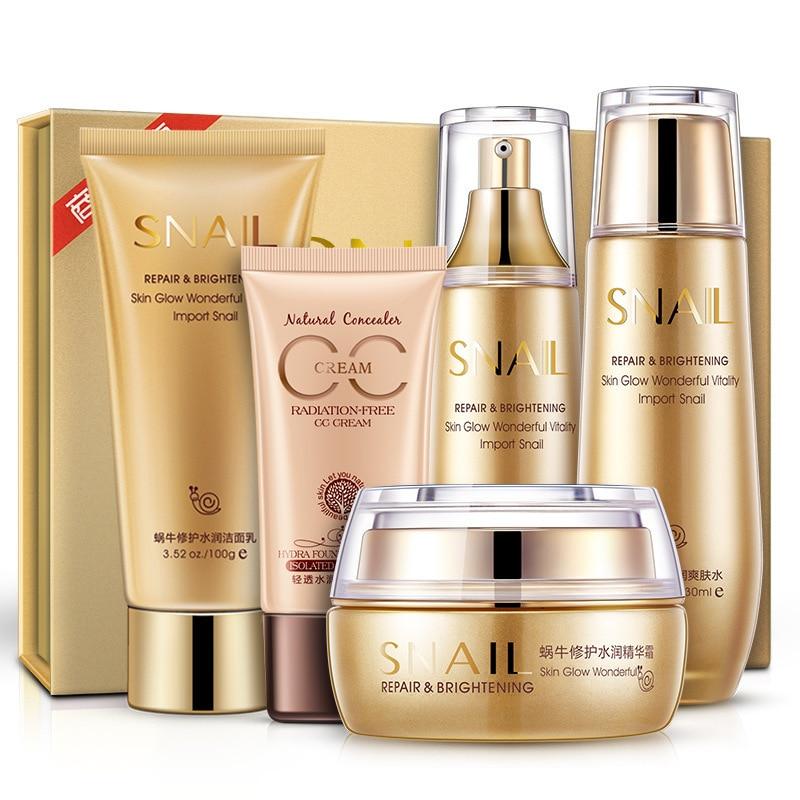 Snail Repairing & Nourishing Set Skin Care Moisturizing Anti-aging Anti-wrinkle  Cleanser, Toner, Lotion, Cream, CC Cream chanel 5ml cc cc cream