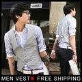 Homens coreano metrosexual fino V colar colete Tops cinza