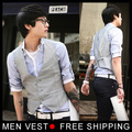 new original Men's Korean metrosexual man slim V collar vest Waistcoat Tops Grey