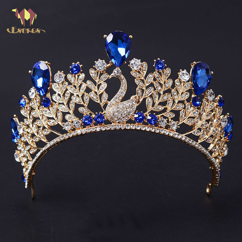 ESERES Phoenix Shaped Tiaras Gold Body Blue/Red Glass Crown For Women Wedding Hair Jewely Glegant Queen Di