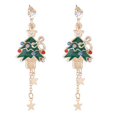 New Arrival Cute Christmas Earrings Santa Snowman Christmas Tree Bell Christmas Crystal Earring Holiday Gifts for Womens Ladys