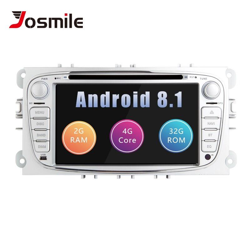 Lecteur DVD de voiture 2 din Android 8.1 pour Ford Focus 2 Mondeo 4 c-max s-max Galaxy KugaTransit connectez la Radio multimédia GPSNavigation