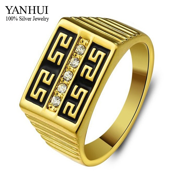 Aliexpress Buy 90 OFF Brand Classic Men Engagement Ring Real 24K Gold Filled