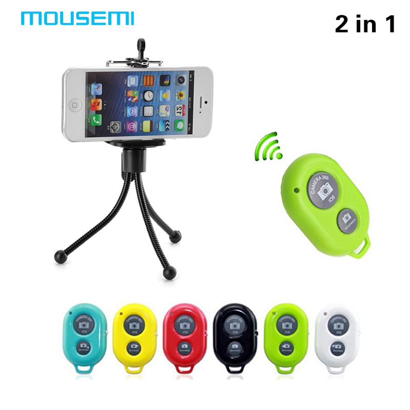 MOUSEMI Tripod Clip Car Camera Mobile Phone Holder Stand Monopod Wireless Bluetooth Phone Camera Remote Control Shutter Holder