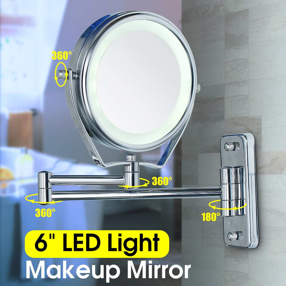 360 Rotary 6 Inch Double Side Led Illuminated Magnifying Bathroom Shaving Shower Mirrors 7x Makeup Wall Cosmetic Mirror W/ Light360 Rotary 6 Inch Double Side Led Illuminated Magnifying Bathroom Shaving Shower Mirrors 7x Makeup Wall Cosmetic Mirror W/ Light
