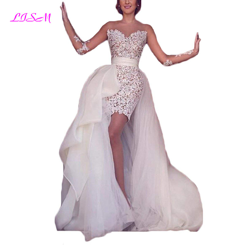 Scoop Lace Appliques Short Wedding Dresses with Train Empire Bodice Tulle Bridal Gowns 2019 New Arrival Wedding Party Gowns